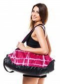Portrait Of Attractive Caucasian Smiling Woman With Sports Bag Isolated On White