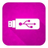 usb violet flat icon, christmas button, flash memory sign