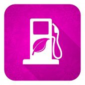 biofuel violet flat icon, christmas button, bio fuel sign