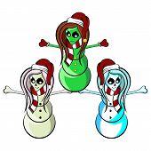 Alien Skeleton Cheerleader Snowmen