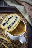 Cup Of Espresso Coffee With Butterfly Pie