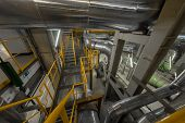 stock photo of staircases  - Industrial staircase going up to the tower - JPG