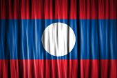 Laos Flag on fabric surface
