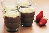 Tasty Pudding With Red Strawberries
