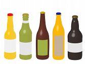Different Kinds Of Beer Bottles 3D