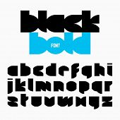 Black bold font, alphabet. Vector.