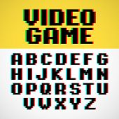 Video game pixel font with distortion. Vector.