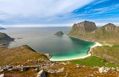 Scenic Fjord On Lofoten Islands With Typical Fishing Hut