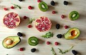 Aerial Photo Of Raspberries, Strawberries, Avocado And Kiwi