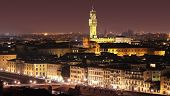 Panoramic Night View Of Florence, Italy.