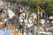 Marble Mine In Rainy Season In Carrara, Italy.