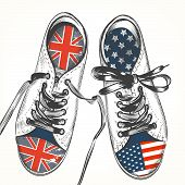 Fashion Background With Sports Boods Decorated By British And Usa Flags