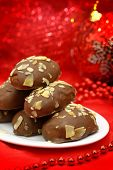 Traditional Christmas dessert covered with chocolate