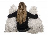 image of standard poodle  - Rear view of two White Corded standard Poodles and a girl with dreadlocks sitting in front of white background - JPG