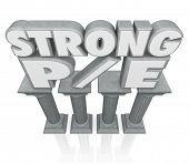 Strong P/E words on stone or marble columns to illustrate a business or company with a good price to earnings ratio or multiple in its stock valuation