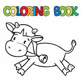 picture of calf cow  - Coloring book or coloring picture of funny cow or calf - JPG