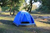 Blue tourist tent in forest