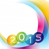 2015 with colorful wave going behind the text