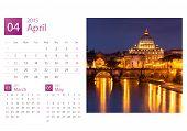Desk Calendar 2015. Rome, Italy Image Selection.