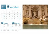 Desk Calendar 2015. Rome, Italy Image Selection.