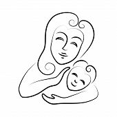 Mum with the child. Vector icon on white background.