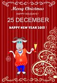 Christmas background with  goat and  glass of wine