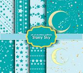 set of seamless patterns - Starry Sky