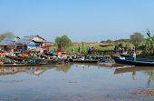 Wooden Tourist Boats Near Traditional Open Market On Inle Lake, Myanmar (burma)