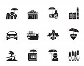 Silhouette different kind of insurance and risk icons