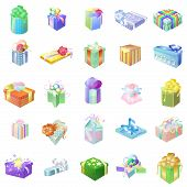 Set Of Colorful Gift Packages With Various Ornaments And Pictures