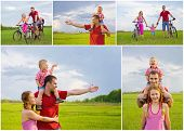 Collage Of Happy Family