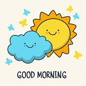 Funny Sketching Smiling Sun And Cloud. Vector Cartoon Illustration Background