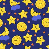 Funny Sketching Smiling Star And Sleeping Moon. Vector Seamless Cartoon Pattern. Night Background