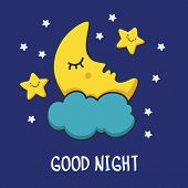 Funny Sketching Sleeping Moon And Smiling Stars. Vector Cartoon Illustration Background