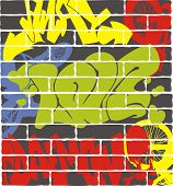 Urban graffiti on a brick wall. Vector illustration.