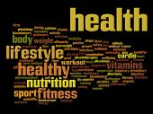 Concept or conceptual abstract nutritiona and health word cloud or wordcloud on black background