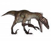 Utahraptor dinosaur roaring down - 3D render