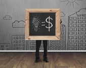 Businessman Holding Blackboard With Hand-drawn Ideas Equal Money Concept