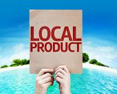 Local Product card with a beach background