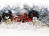 Christmas background with decorations and berries