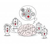 The business team and the brain. Metaphor of collective conscience or a metaphor of a brainstorming. A team is connected at a brain