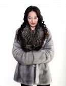 Female model in fur