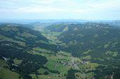 Valley In Alps In Switzerland.