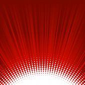 abstract shine red background with rays and dots