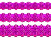 Ornamental floral magenta color Seamless border Vector set