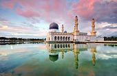 Sunset at floating mosque in Kota Kinabalu