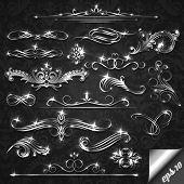 Set of silver ornate design elements - eps10