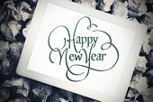 happy new year against tablet pc