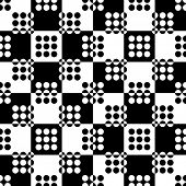 Abstract circle and Square Pattern. Vector Seamless Monochrome Background. Regular Geometric Texture