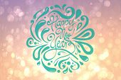 Elegant happy new year against pink abstract light spot design